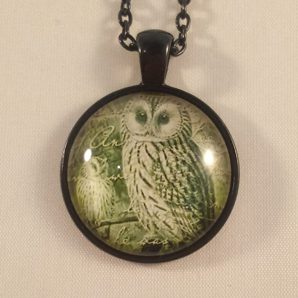 Other - Black Owl Cabochon Pendant Chain Necklace Mens